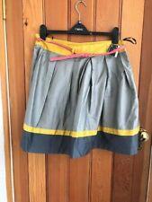 atmosphere prinark grey yellow pink gathered poplin skirt with belt uk 18 bnwt