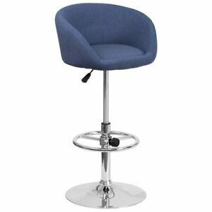 Adjustable Height Barstool with Chrome Base - Blue Modern Bar Salon Spa Stool
