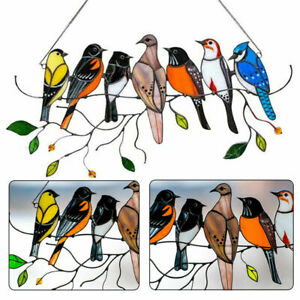 4/7 Birds On A Wire Sun Catcher Stained Glass Window Panel Hanging Ornament Gift