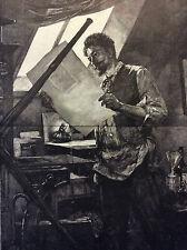 Exposition Universelle Paris 1889 portrait M. F. Rops Mathey estampe Ch. Baude