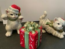 Fitz And Floyd Kitty Kringle Essentials 2 Christmas Kitties Collectibles 3 pc se