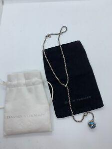 David Yurman. 925 BLUE TOPAZ DIAMOND Dangle Ball Lariat Necklace