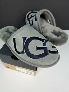 UGG Scuff Mens Size 9 Slippers Suede Logo Rare New Gray