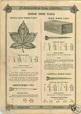 1923 PAPER AD Maple Leaf House Shoe Nails Montreal Rolling Machine Co Wood Box