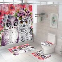 Owl Bathroom Rug Set Shower Curtain Thickened Non Slip Toilet Lid Cover Bath Mat