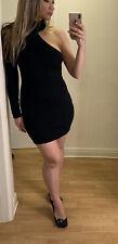 Nasty Gal un hombro vestido ceñido de bodycon sexy negro Talla L UK 10-12