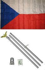 3x5 Czech Republic Flag Aluminum Pole Kit Set 3'x5'