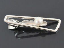 Authentic MIKIMOTO Silver 6mm Genuine Akoya Pearl Tie Bar Clip Clasp