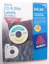 "Avery 8536 CD-R Disc Labels - White - 35x2=70 Label Box 4 1/2"" Inkjet - NEW B49b"