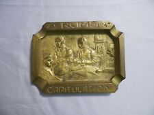 WW2 Capitulation Brass Shell Casing Ashtray Trench Art 7-5 Reims 1945