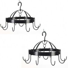 2 Kitchen MINI RACK Black Round Hanging PAN POT & Utensil HOLDER New