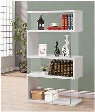 Coaster Bookcases Asymmetrical Snaking Bookshelf Glossy White 800300 New