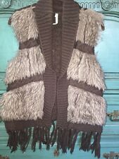 WILLOW And CLAY FAUX FUR VEST FRINGE FRONT FUR CABLE KNIT MED. BOHO FESTIVAL