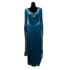 Womens SM P Dress Renaissance Festival Costume Teal Embroider Long CALIFORNIA