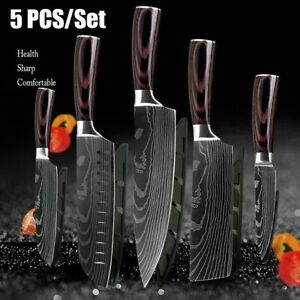 5 Piece Kitchen Knives Set Stainless Japanese Damascus Pattern Steel Chef Knife