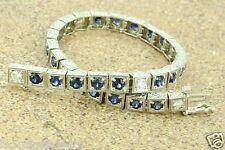6.05 ct 14k Solid White Gold Antique Style Natural Diamond & Sapphire Bracelet