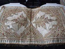 Antiguo Mughal Indio Oro Metal Hilo De Seda Bordado Panel. cubre mesa colgante