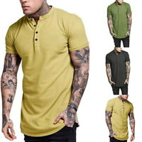 Men  Collar Button T-Shirt Blouse Casual Shorts Cotton Long Sleeve Tops LO
