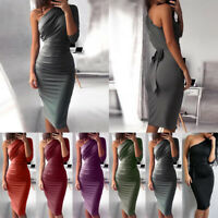 Womens One Shoulder Midi Dress Bodycon Party Cocktail Evening Club Short Dresses