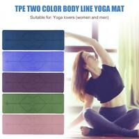 TPE Yoga Mat Dual Color Non-slip Pilates Carpet Mat w/Position Line Gym Fitness