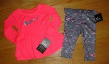 Nike Baby Girls Leggings Gray Pants Pink Long Sleeve Shirt Swoosh Toddler 12M