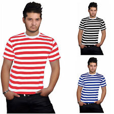 Mens Stripped Top Shirt Stag Do Fancy Dress short Sleeve Cotton Stripe T-shirts