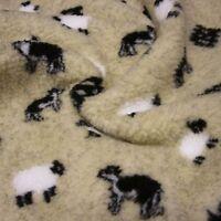 Cream Sherpa Fleece Fabric with Sheep and Sheepdog *Per Metre