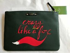 KATE SPADE Blaze A Trail Crazy Like A Fox Print Gia Zip Top Clutch Pouch Bag NEW