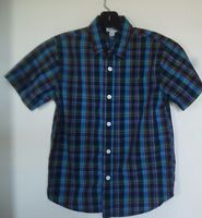 Old Navy Boys' Plaid Short Sleeve Button Down Shirt, Size M