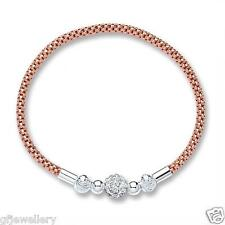 9CT ROSE GOLD PLATED 925 HALLMARKED SILVER MESH BRACELET WITH SWAROVSKI-CRYSTAL