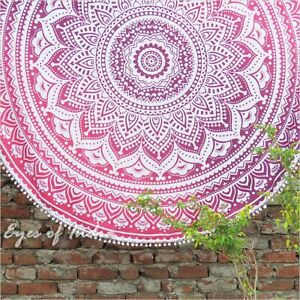 "70"" Pink Roundie Beach Throw Picnic Mat Spread Hippie Mandala Tapestry Bohemian"