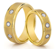 HIS & HERS 8MM/6MM Tungsten Matte Gold Wedding Band TWO RING SET w/ CZ Stones
