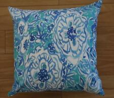 Hamptons Abstract Teal Blue Flowers Suede Look Cushion Cover 45cm