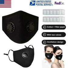Reusable Mask With 1/2 Breathing Valve PM2.5 Face Mask +Activated Carbon Filters