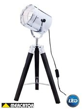 LED Nautical Searchlight Floor Lamp 167cm Black Tripod Legs Marine Theme Vintage