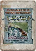 """Indianapolis Motor Speedway Program Cover 12"""" X 9"""" Retro Look Metal Sign A598"""