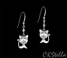 Silver Earrings w/ Swarovski UpickColor *Ckstella* Cat Kitty Pewter Sterling