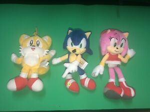 "Tomy SEGA Sonic the Hedgehog Amy Rose Tails Plush Stuffed Doll Toy Lot 8"" 9"""