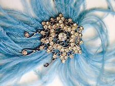 Silver vintage brooch with marabu ostrich feathers for hat, bag or evening
