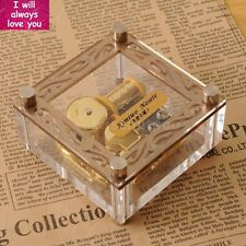 Acrylic Cubic Gold Wind Up Music Box : I Will Always Love You