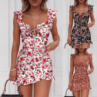 Women Boho Floral Mini Dress Summer Ladies Holiday Beach Party Bodycon Dresses