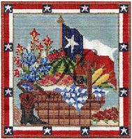 Needlepoint Handpainted KELLY CLARK Texas Picnic Basket w/STITCH Guide