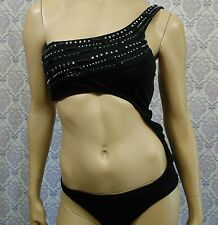 Victorias Secret One Piece Bikini Monokini Size M Black Beaded Bling Rhinestone