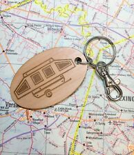 Pop Up Camper Oval Alder Wood Key Fob, Pop Up Trailer, Pup Camping Trailer