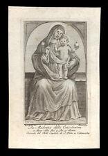 santino incisione 1700 MADONNA DELLA CONSOLAZIONE