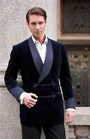 Men Blazer Bilberry Smoking Velvet Jacket Stylish Blue Shawl Blazer Coat Jackets
