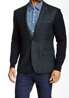 People Trend Cable Knit Sleeve Checkered Print Blazer Navy Large