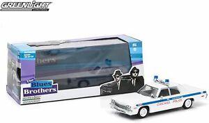 DODGE MONACO POLICE CAR MODEL BLUES BROTHERS 1975 1:43 GREENLIGHT CHICAGO T3412Z
