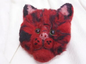 Cat: Cat / Hangover IN Red: Handarbeit Made Of Felt : Unique: Brooch/Pin