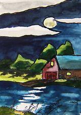 ORIGINAL ACEO  MOON Landscape  painting JMW art John Williams ATC Realism